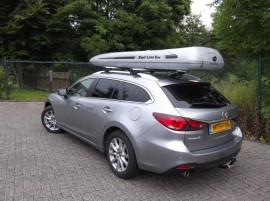 Mazda SLB Photos of ROOF BOXES Big-Malibu XL Surf roof box with surfboard rack