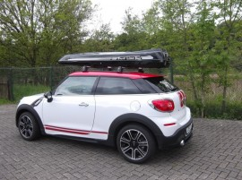 Mini Cooper Foto's van dakkoffers Big-Malibu XL Surf met surfplankhouder