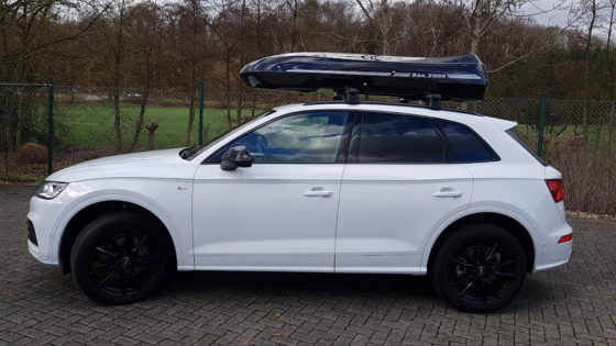 Audi Q5 Kundenbilder Beluga XXL Dachbox – Urlaub mit Hund