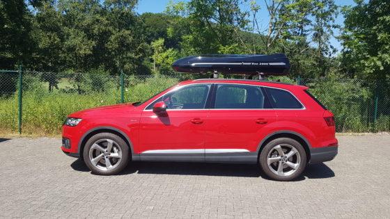 Audi Q7 Kundenbilder Beluga XXL Dachbox – Urlaub mit Hund