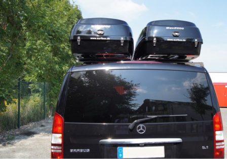 Mercedes Viano Kundenbilder Big-Malibu Dachbox mit Surfboardhalter