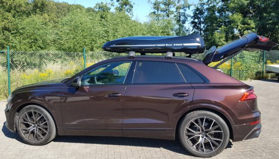 "Audi Q8 Kundenbilder Dachbox Moby Dick ""Aktion alles inklusive"""